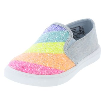 Nickelodeon Toddler Girls Jojo Rainbow Glitter Slip-On Sneaker