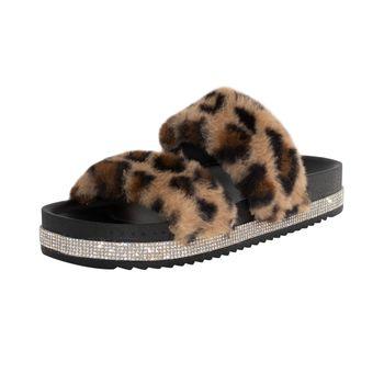 Mudd Womens Lauren Fur Footbed Sandal