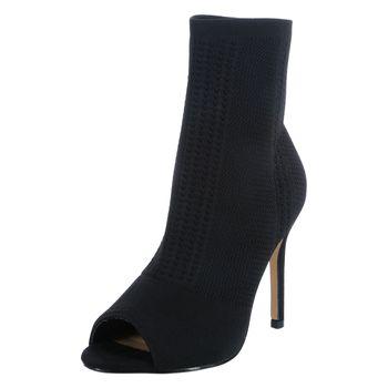 Nicole Miller Womens Knitty Peep Toe Sock Heel
