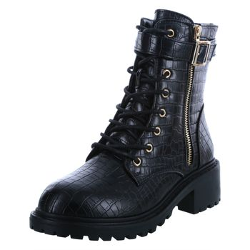 Nicole Miller Womens Croco Runner Lace-Up Boot